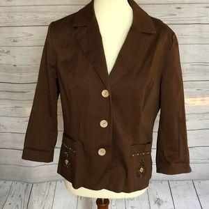 Brown Jacket w/ Embellished Pockets